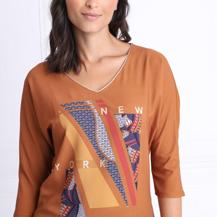 T-shirt manches 3/4 col en V marron femme