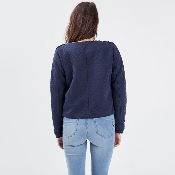 Veste droite matelassée bleu foncé femme