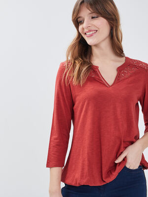 T shirt manches 34 rouge fonce femme