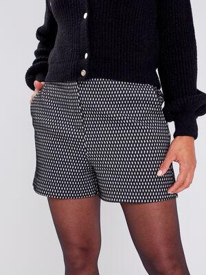 Short droit taille elastiquee noir femme