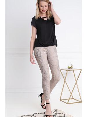 Pantalon 78 taille standard beige femme