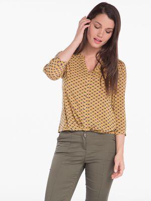 Chemise manches 34 imprimee jaune clair femme