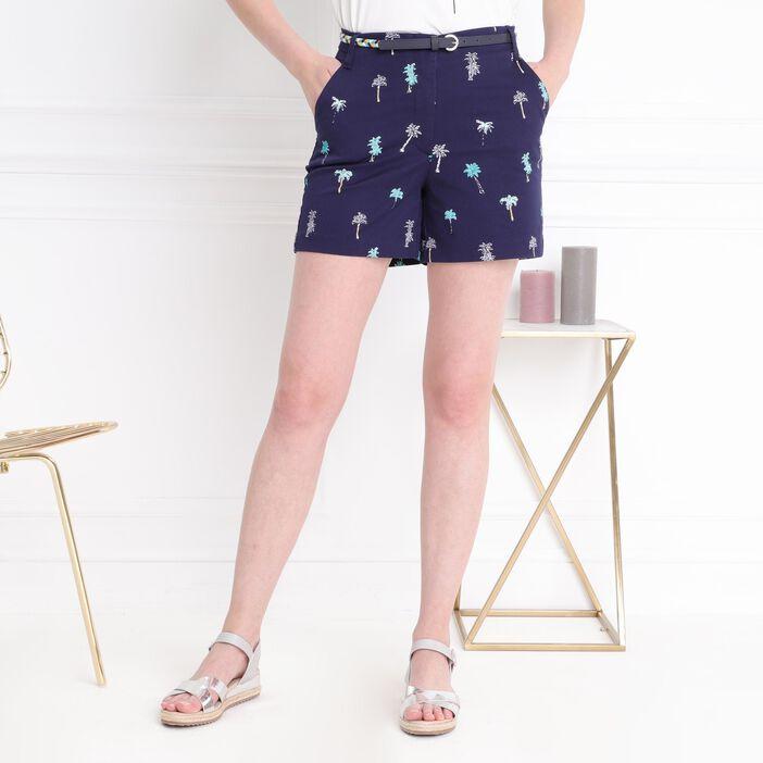 Short droit taille standard bleu marine femme