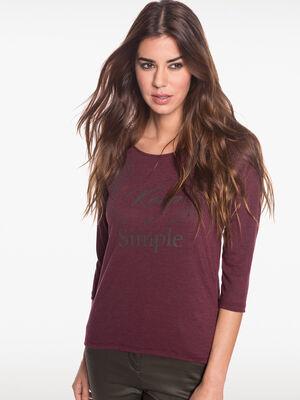 T shirt motif ailes et strass prune femme