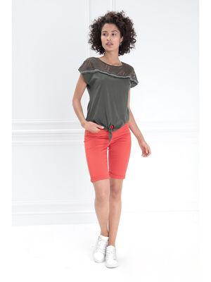 Bermuda taille haute ceinture rouge femme