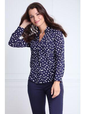 Chemise col francais a pois bleu marine femme