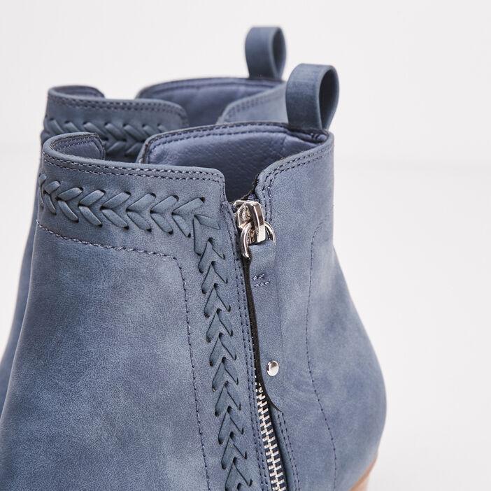 Bottines à talons zippées bleu femme
