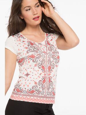 T shirt imprime bandana violet femme
