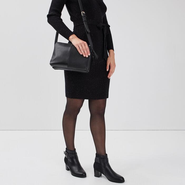 Sac pochette 2 poches noir femme