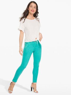 Pantalon leger toucher doux vert turquoise femme