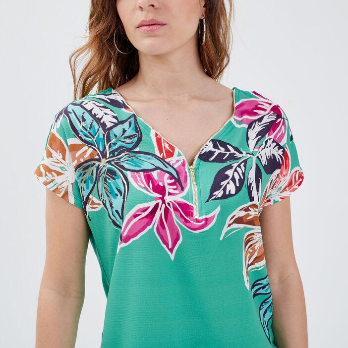 T-shirt manches courtes vert femme