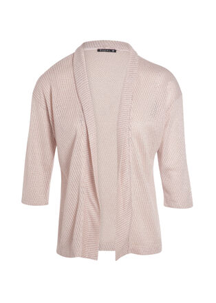 T shirt manches 34 forme gilet rose clair femme