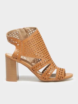 Sandales a talons perforees orange fonce femme