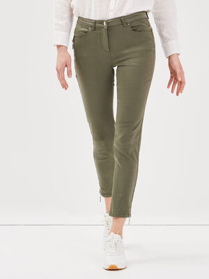 Pantalon 78 satin vert kaki femme