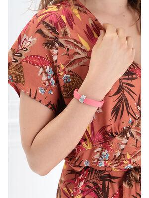 Bracelet bande avec anneau orange corail femme