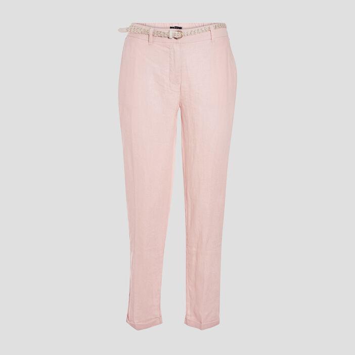 Pantalon chino taille basculée rose poudrée femme
