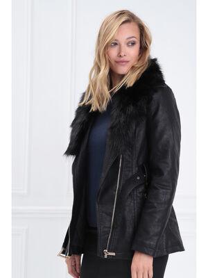 Manteau cintre fausse fourrure noir femme