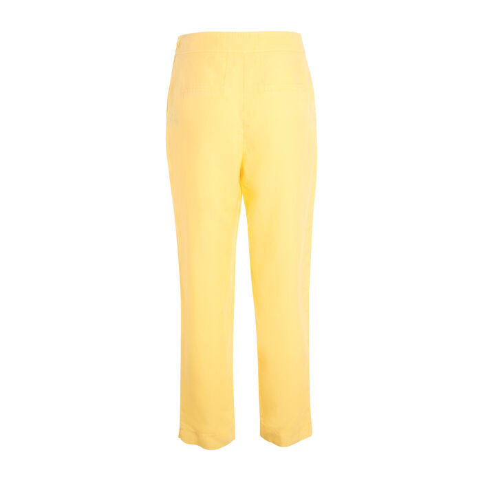 Pantalon fluide taille standard jaune femme