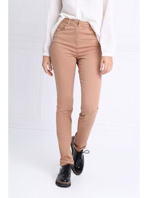 Pantalon ajuste taille haute marron clair femme