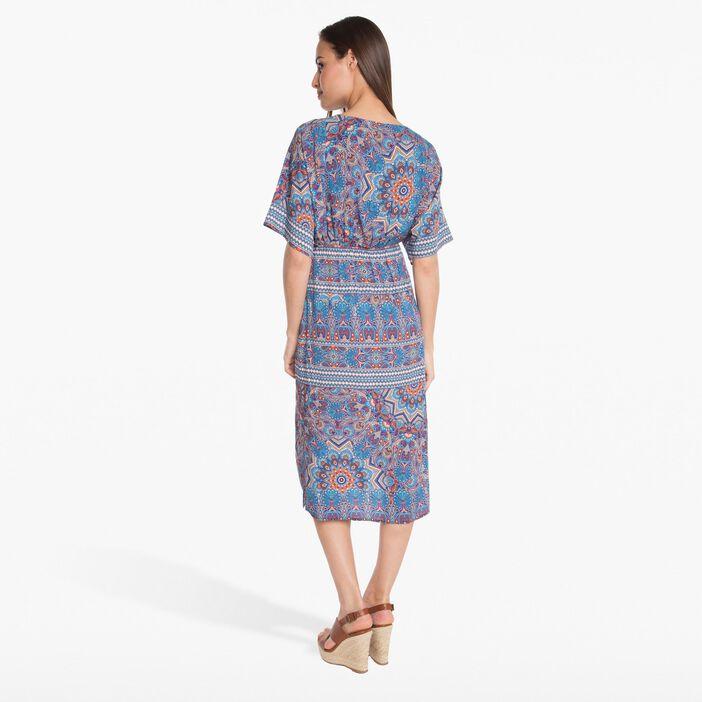 Robe longue imprimée bleu turquoise femme