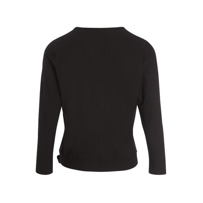 T-shirt manches 3/4 noué noir femme