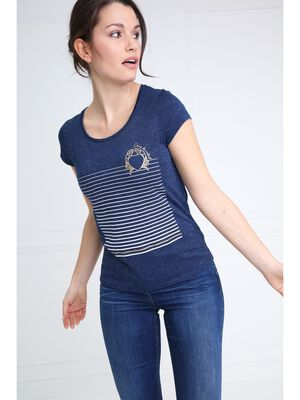 T shirt manches courtes motif bleu fonce femme