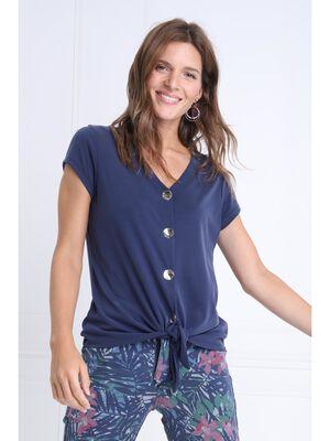 T shirt manches courtes noue bleu marine femme