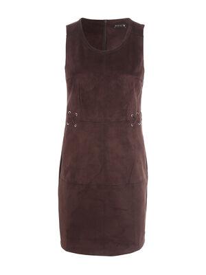 Robe ajustee effet suedine marron fonce femme