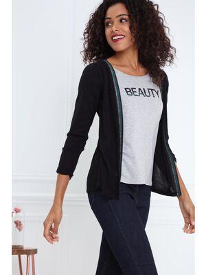 T shirt col rond 2 en 1 details irises noir femme