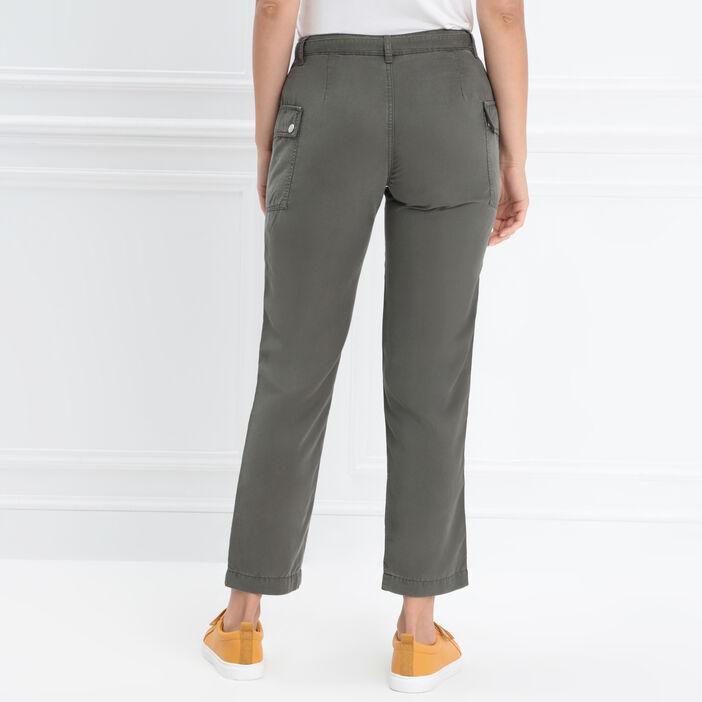 Pantalon cargo taille basculée vert kaki femme