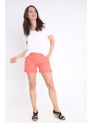 Short en lin uni orange corail femme