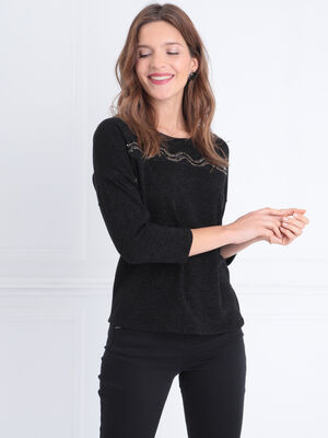 T shirt manches 34 sequins noir femme