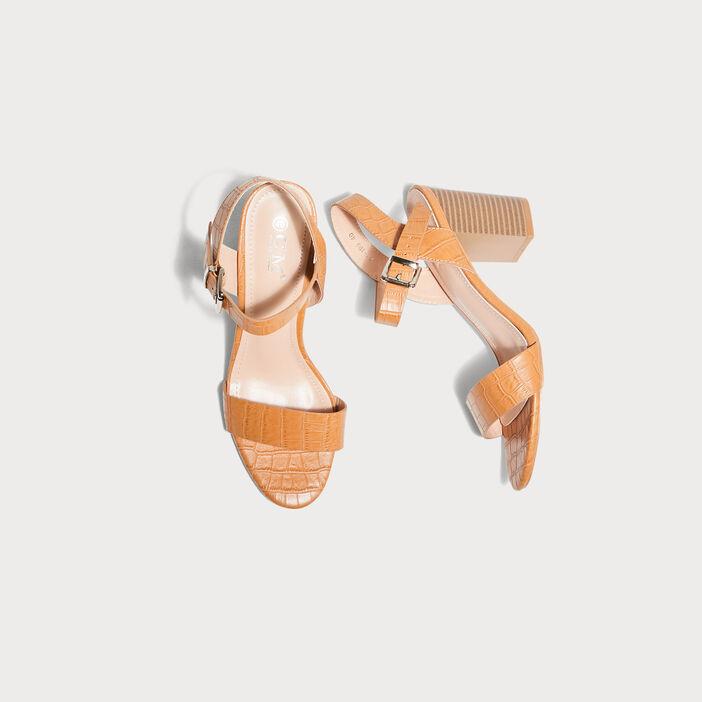Sandales à talons texturées orange foncé femme