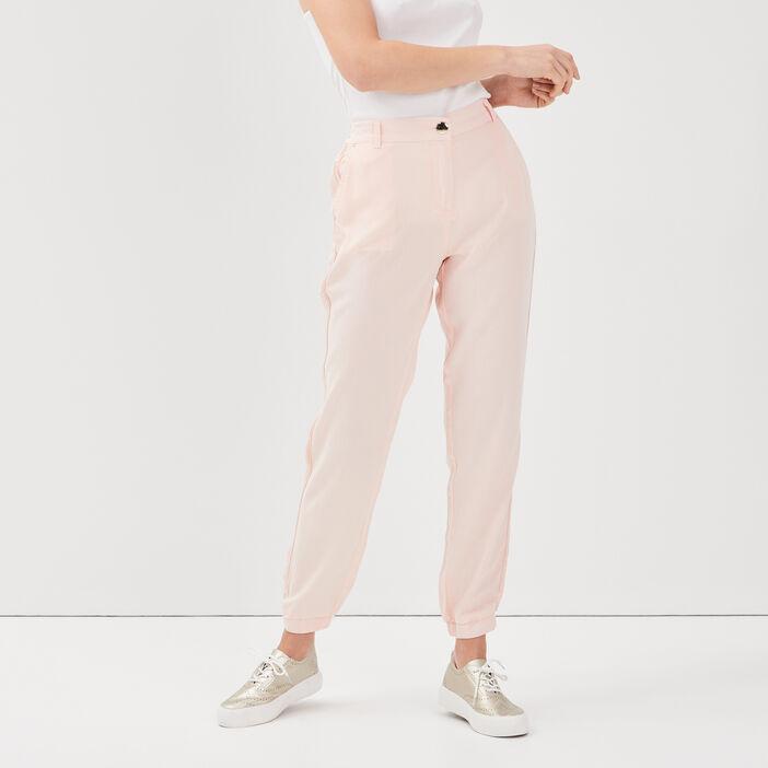 Pantalon flou taille haute rose poudrée femme