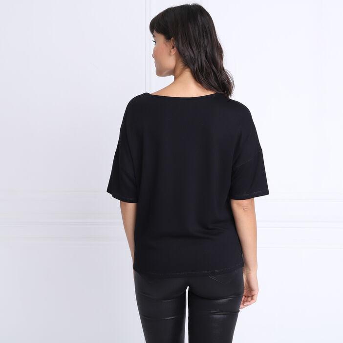 T-shirt manches 3/4 boutons noir femme