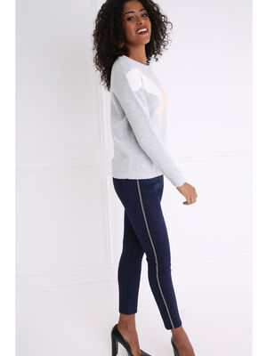 Pantalon uni a bandes laterales bleu fonce femme