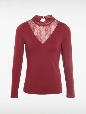 T shirt manches longues rouge fonce femme
