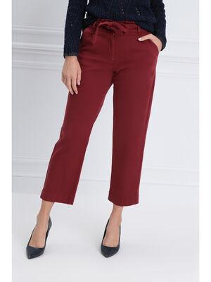 Pantalon large taille haute rouge fonce femme