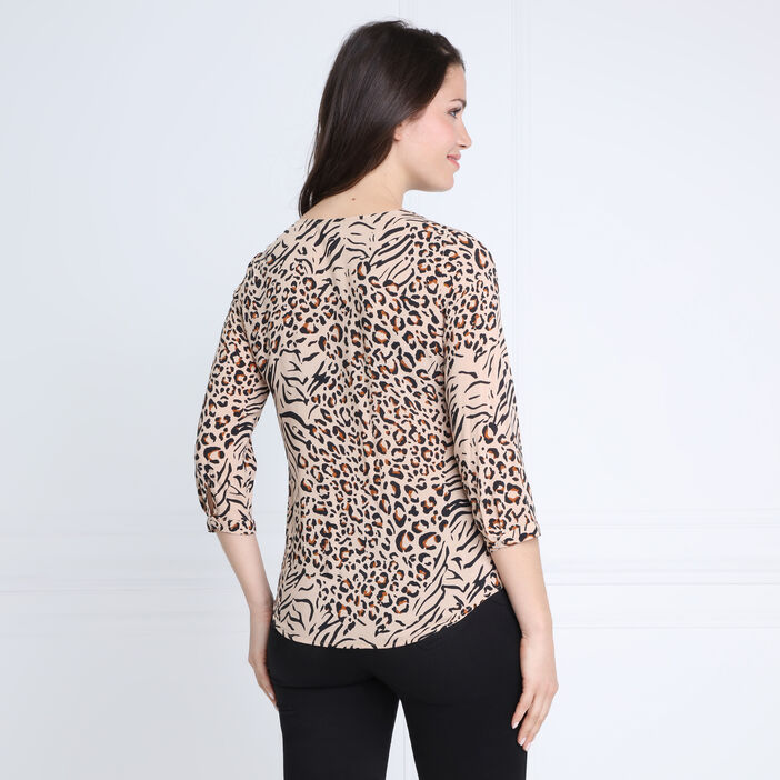 Blouse manches 3/4 col V creme femme