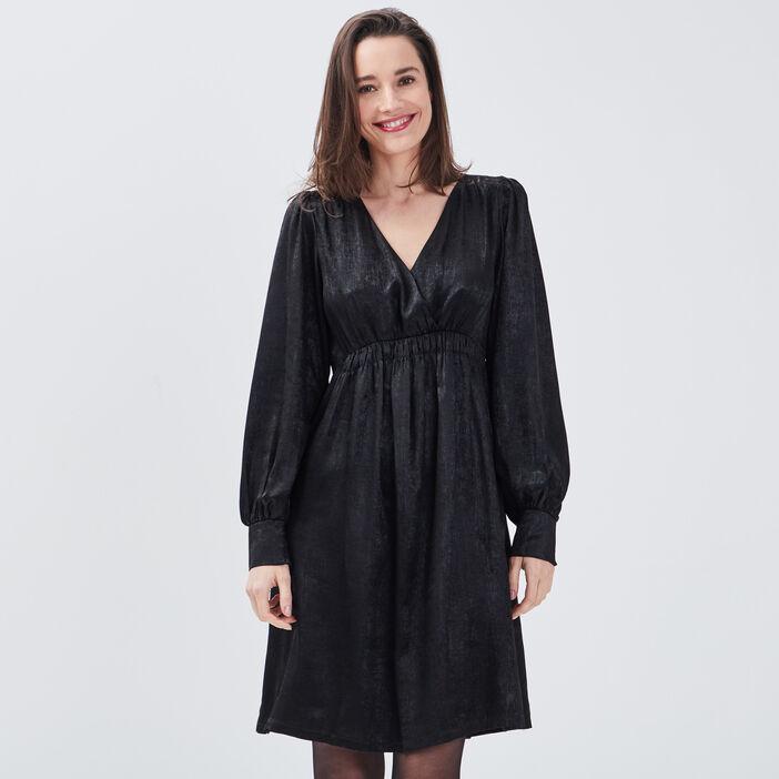 Robe évasée à manches longues noir femme