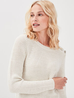 Pull fantaisie a epaules boutonnees creme femme