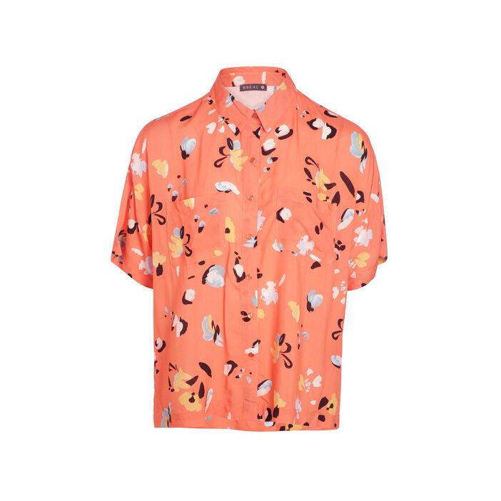 Chemise manches courtes rose corail femme