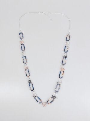 Collier long bleu fonce femme