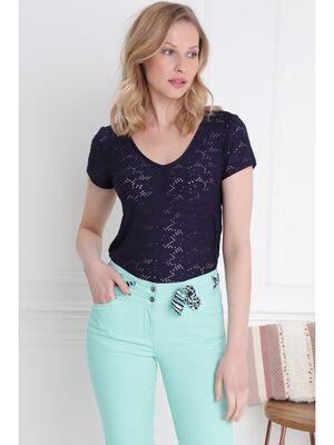 T shirt manches courtes ajoure bleu femme