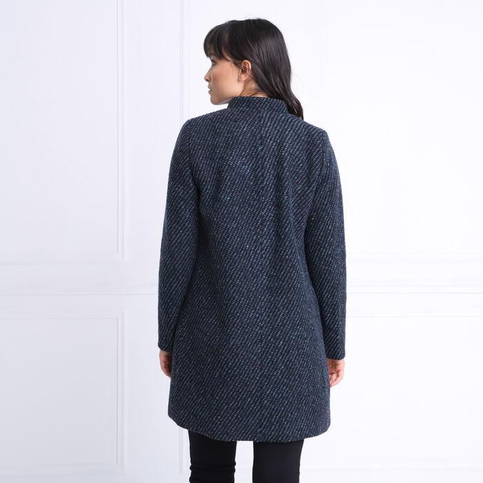 Manteau droit maille tweed vert canard femme