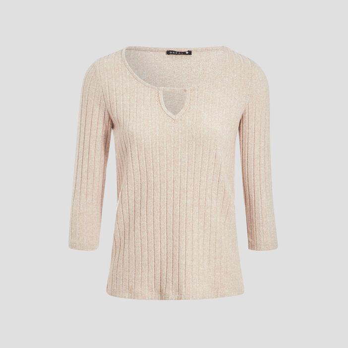 T-shirt manches 3/4 côtelé marron clair femme
