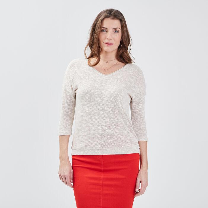 T-shirt manches 3/4 sable femme