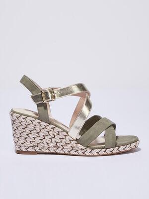 Sandales a talons compenses vert kaki femme