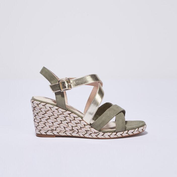 Sandales à talons compensés vert kaki femme
