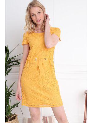 Robe courte cintree dentelle jaune moutarde femme